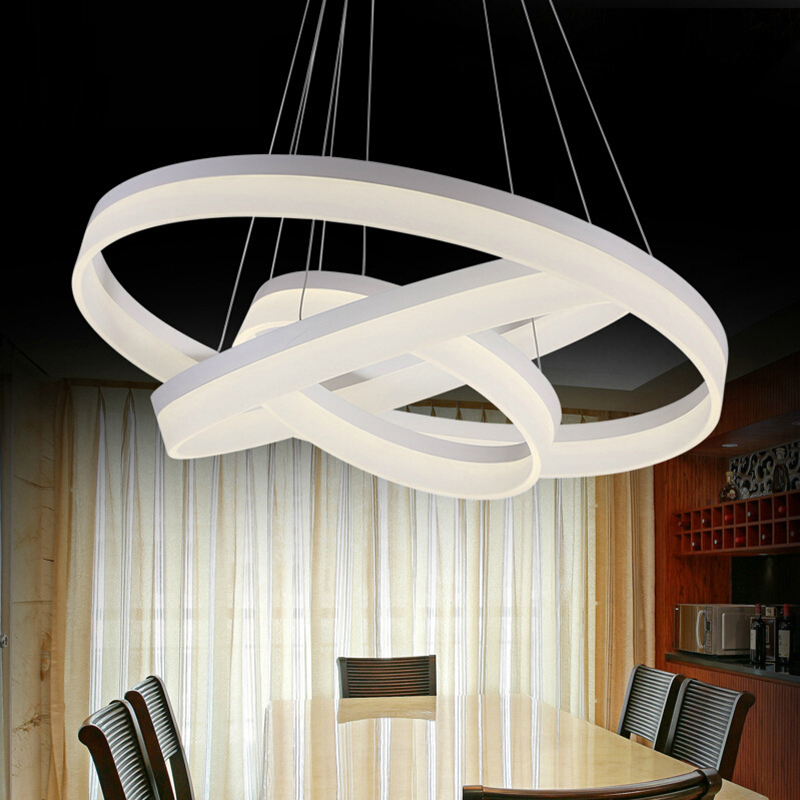 Modern 2017 LED Pendant Lights Restaurant Living Room Suspension Lighting Acrylic Round LED Indoor Home Hanging Lamps SINFULL dimmable pendant lights led crystal lighting hanging lamps indoor home light with remote control for hallway indoor home deco