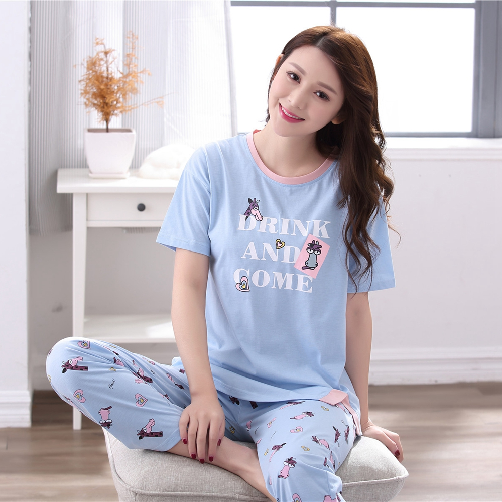 Plus Size XXXL Cotton Pajamas Sets For Women Short Sleeve Cartoon Pyjama Girls Long Pants Sleepwear Loungewear Homewear Clothing