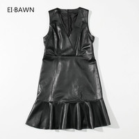 2018 Spring Women Party Sexy Leather Dress Black Elegant Vintage Midi Office Sexy Dress Simplee Clothes Women Strapless Dress