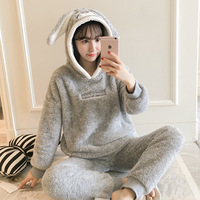 QWEEK Women Sleepwear Winter Flannel Thick Female Pajama Long Sleeve Pyjamas Women Two Piece Sets Cute Warm Home Suit Pijama