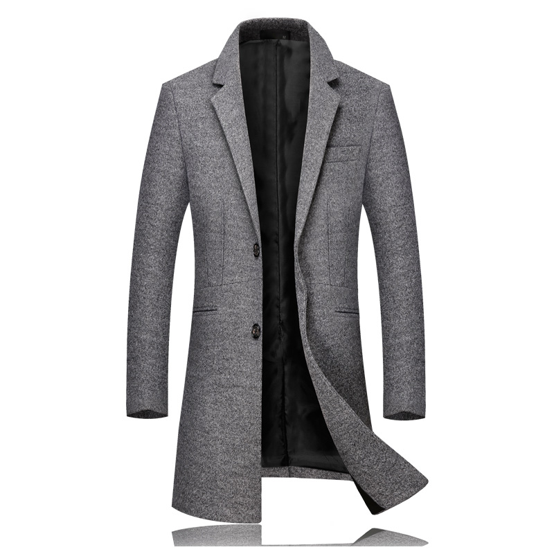 Winter New High Quality Men's Woolen Coat Business Casual Classic Slim Coat Gentleman Type Long Section(China)