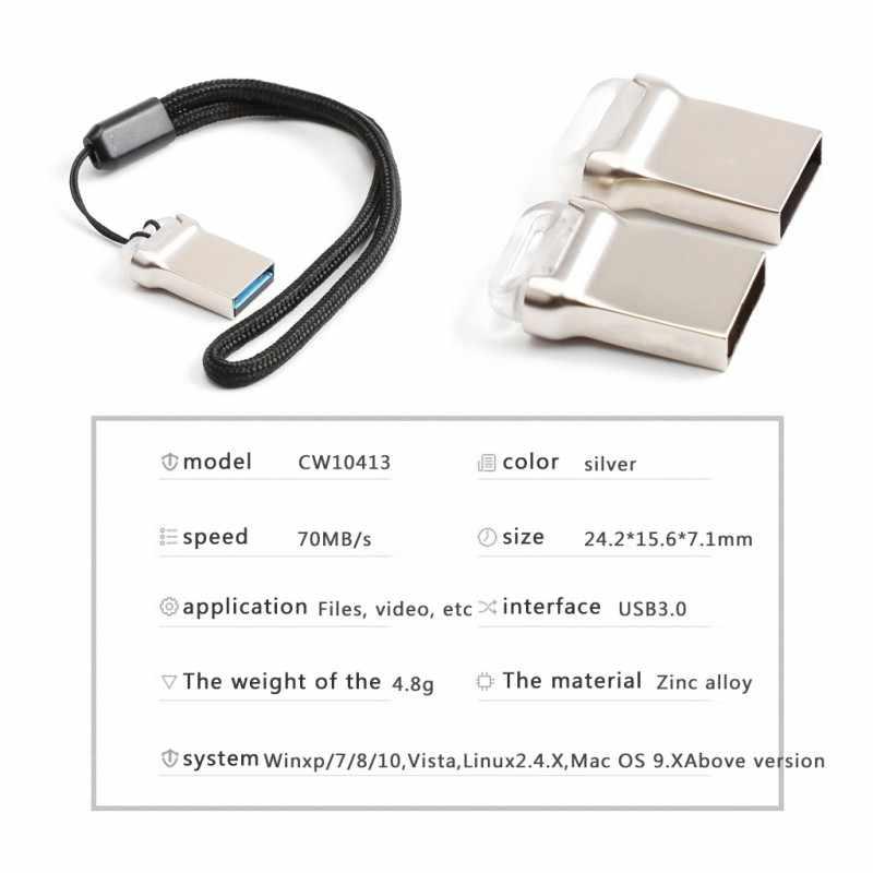 Новый мини металлический USB флэш-накопитель USB 3,0 Флешка u-диск с хвостовой подсветкой 32G Мини Портативный подключи и играй
