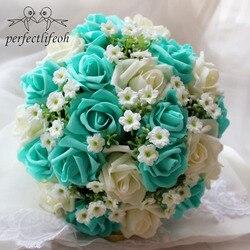 Perfectlifeoh Feito À Mão Buquê De Casamento Flor Artificial Decoração flores Buquê de Noiva para o Casamento de la boda ramos de novia