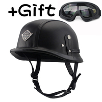 VOSS Motorcycle Helmet Motorcross Vintage Camouflage Helmet For Scooter Leather Crash Helmet Windproof Open Face Harley