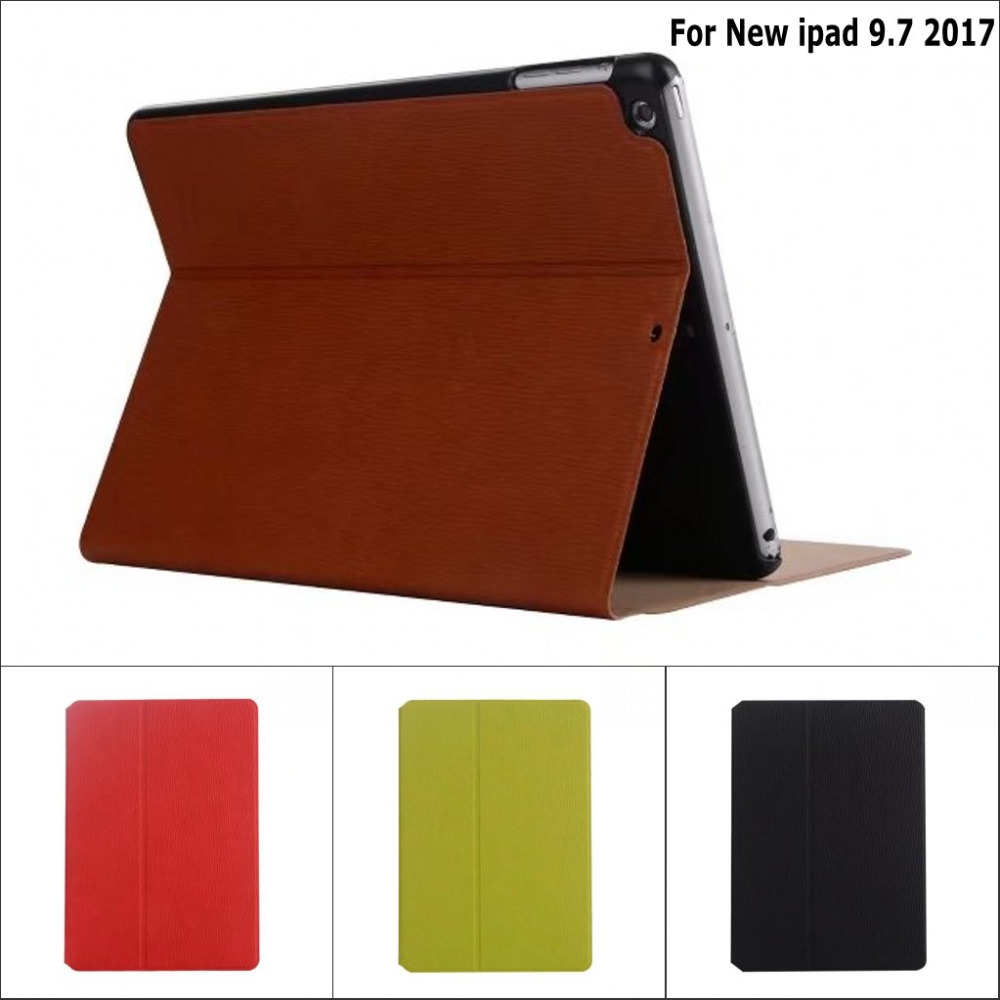 Retro Anti-skid Solid Wood Tree pattern PU leather stand holder cover case for New ipad 9.7 2017 with screen film and pen wood stand holder