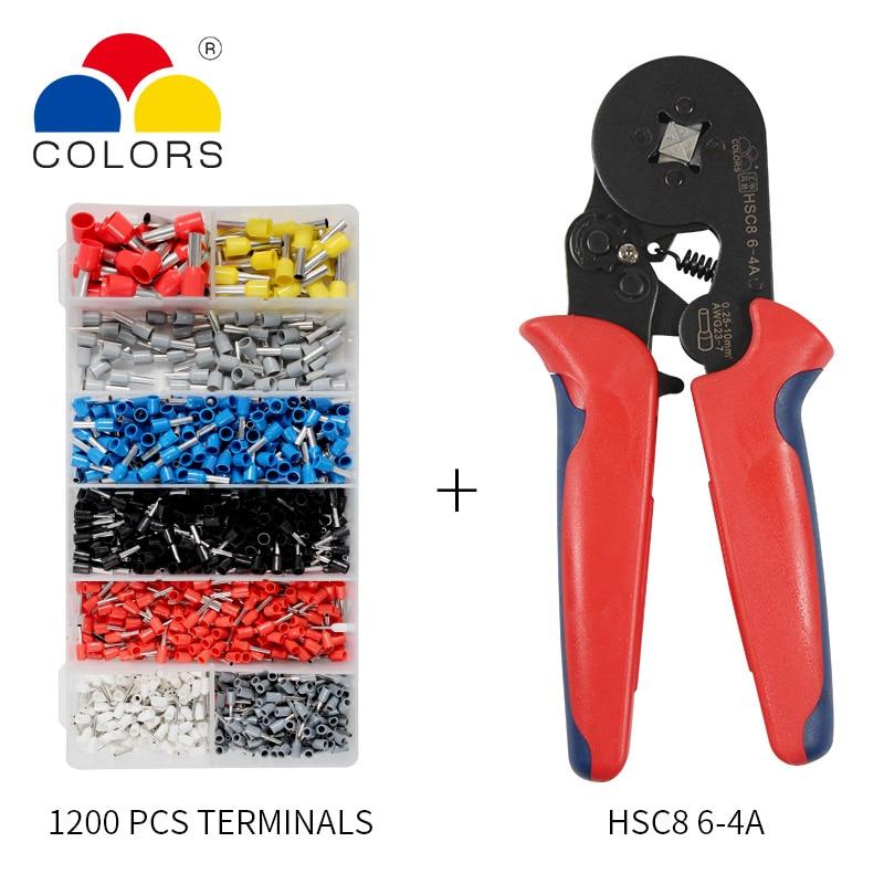 HSC8 6-4 Terminal de Friso Alicate de Arame Stripper Crimper Ponteira Crimpador Mão Alicate + 1200 Terminais Kit