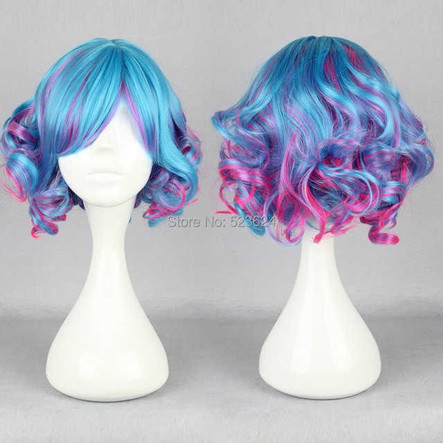 Lolita style Fashion Cosplay wig pink blue color mixed Ombre wig Synthetic wigs short hair cut