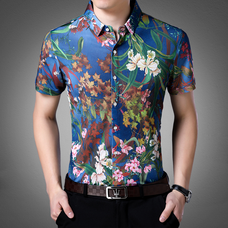 New Design 2018 Summer Mens Casual Floral Clothes Male Short Sleeve Flowers Printed Dress Shirts