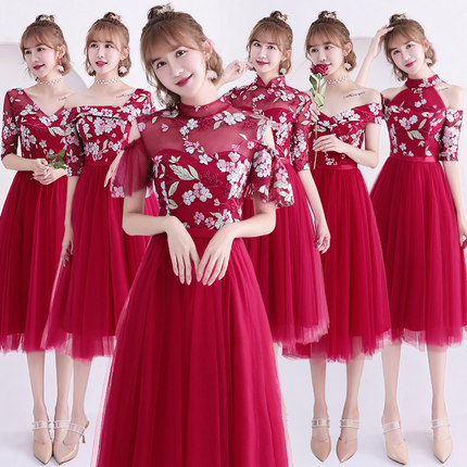 2018new Stock Plus Size Women Pregnant Wedding Party Bridesmaid Dresses Tea Length Sexy Romantic A Line Red Dresses Jyx8012