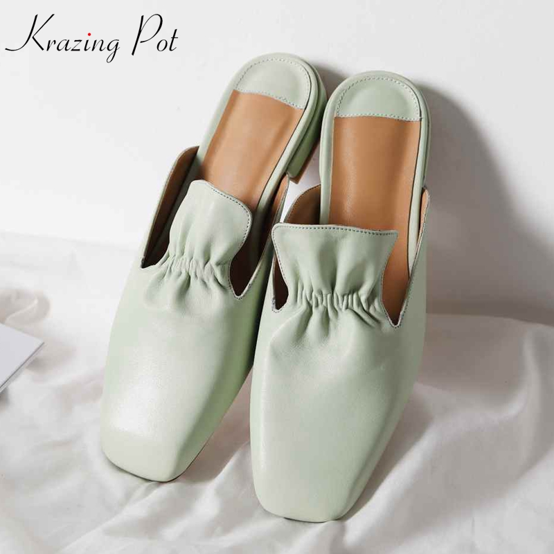 Krazing Pot genuine leather brand shoes square toe low heel outside slippers jelly green color ruffles
