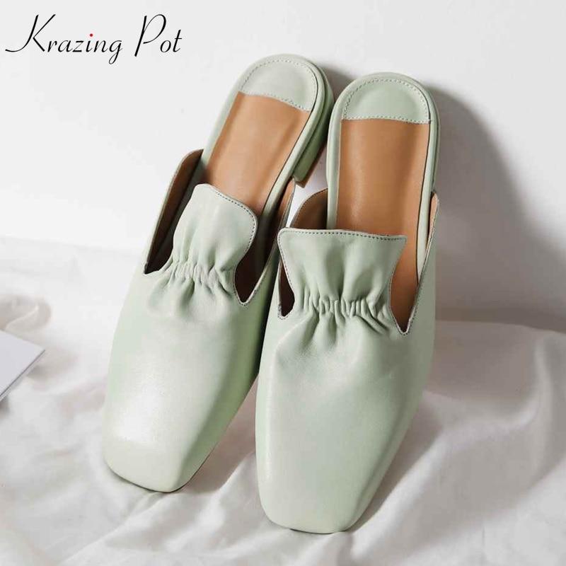 Krazing หม้อของแท้หนังรองเท้ารองเท้าสแควร์ toe ส้นด้านนอกรองเท้าแตะ jelly สีเขียว ruffles preppy สไตล์ mules l60-ใน รองเท้าใส่ในบ้าน จาก รองเท้า บน   1