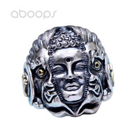 Vintage Two Tone 925 Sterling Silver Chinese Buddhism Good or Evil Ring Jewelry for Men Adjustable