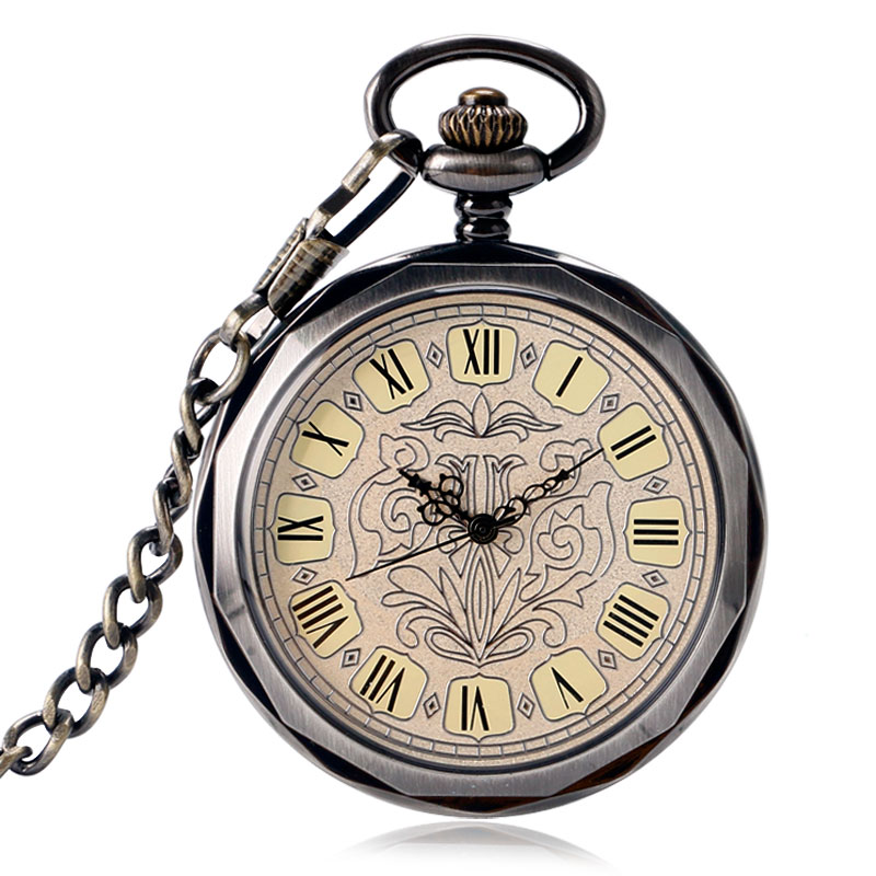 Relojes De Bolsillo Mechanical Wind Up Fob Watch Exquisite Steampunk Open Face Style PocketWatch Chain Trendy Hand Winding Clock