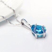 Trblietavý náhrdelník MODRÝ KRYŠTÁL Pendant Necklace BLUE SKY Crystal Water Drop