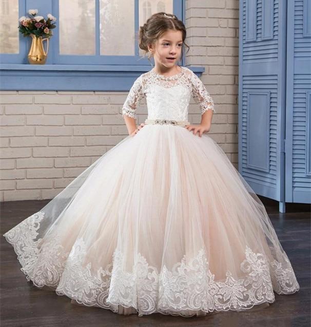 공주 흰색 레이스 꽃 소녀 드레스 얇은 목 반쪽 소매 - 아동복