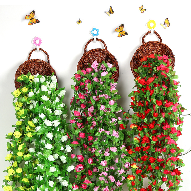 230cm Artificial Rose Flower Vine Wedding Decorative Silk Flowers
