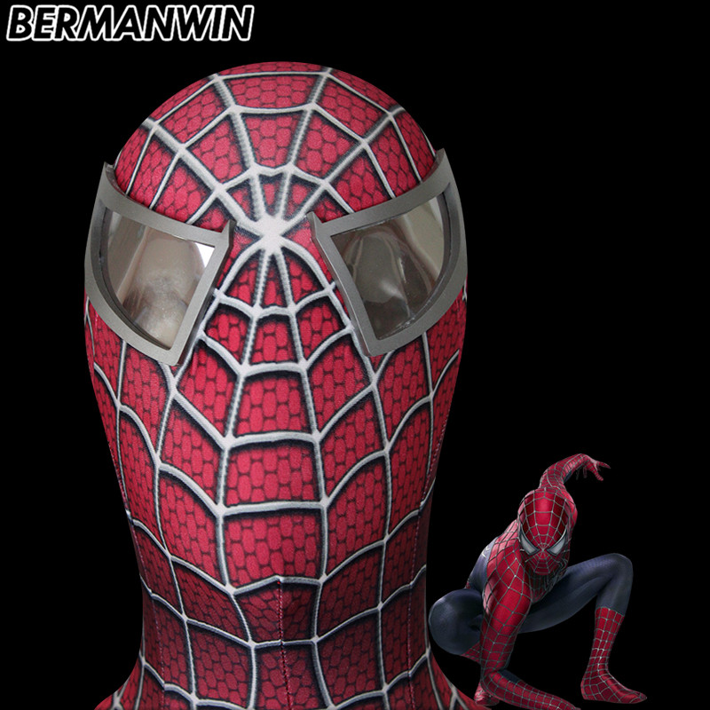 BERMANWIN High Quality Custom Made Hero Toby Spider-Man Cosplay Mask Elastic Spiderman Mask With Eyes Raimi Spiderman Mask
