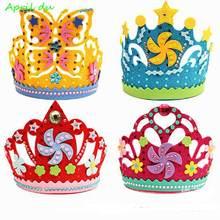 Апреля du diy День рождения детские штаны с короной шляпа липкий
