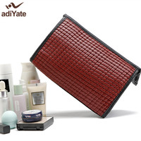 AdiYate Red Leather Straw Mat Lines Cosmetic Bag Dimensional Box Beauticians Makeup Bag Luxury Handbags Cheap