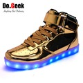 DoGeek LED Light Up Shoes Gold Unisex New Casual Gold and Silver Patent Leather Chaussure Luminous Sneakers Branded Men Shoes