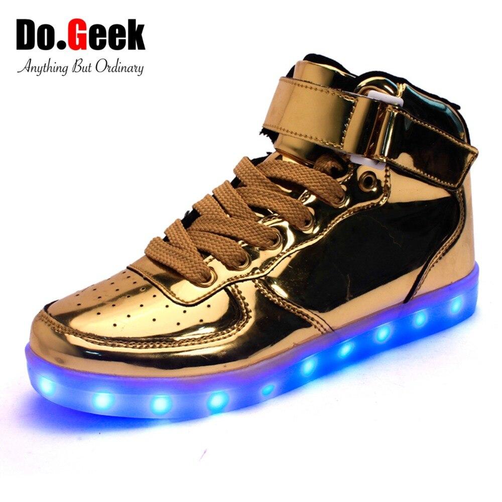 Aliexpress.com Comprar Zapatos DoGeek con luz Led, zapatos dorados de caña alta para mujeres y hombres, zapatos casuales unisex de color rojo y plateado