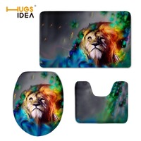 HUGSIDEA Non slip 3pcs/set Bathroom Mat Cool Print Animal Lion Cat Toilet Seat Mat Thick Overcoat Closestool Lid Cover Pad