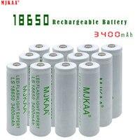 18650 Li ion 3.7V 3400mAh White Rechargeable Batteries for Flashlight Handlamp