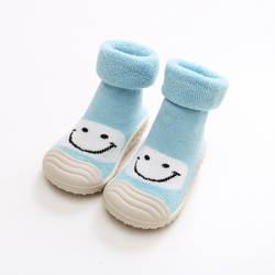 KiDaDndy/милые однотонные нескользящие носки с принтом улыбающегося лица для маленьких мальчиков и девочек, теплые махровые носки с резиновой