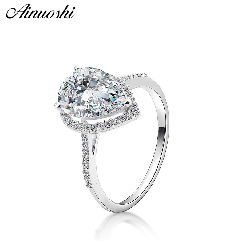 AINOUSHI Fashion 925 Sterling Silver Wedding Engagement 3ct Pear Halo Ring Love Silver Anniversary Party Ring