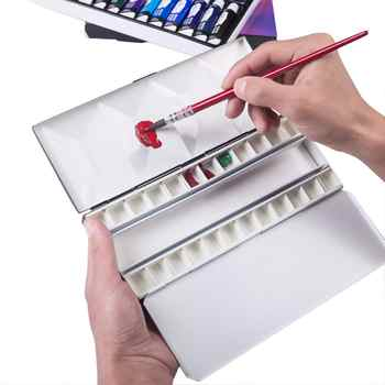 MEEDEN Watercolor Palette, Compact Folding Metal Watercolor Palette Box, Travel Friendly Artist Palette Tin Case with 24 Pans