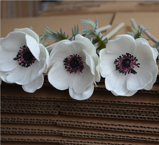 12 real natural touch artificial pure white anemones flowers 12 real natural touch artificial pure white anemones flowers single stems free shipping in artificial dried flowers from home garden on mightylinksfo
