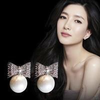 Korean Fashion Temperament Cute Bow Pearl Earrings 925 Silver Needle Jewelry