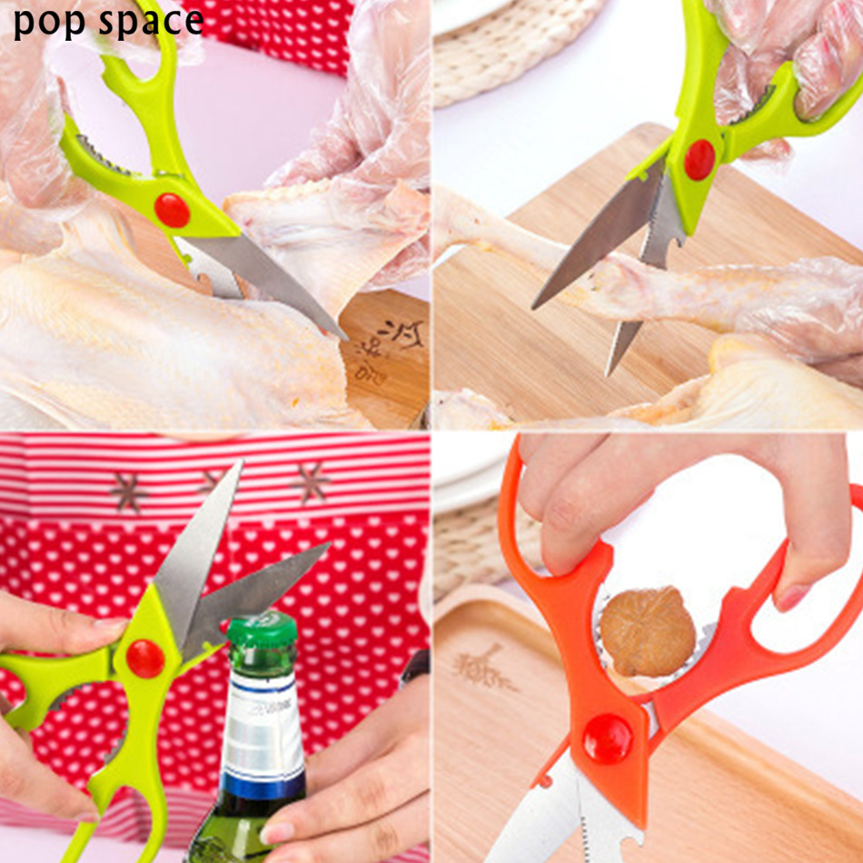 pop space Multifunctional Poultry Kitchen Chicken Bone Vegetable Scissor With Magnetic Case Cutter Cook Tool Shear Fish Duck Cut