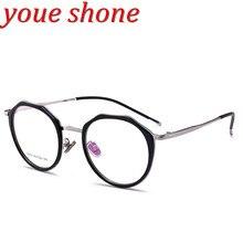 Youe brilhou Marca Tendência Óculos Óculos Redondos Mulheres TR 90 Óculos De Quadros de Moda Ópticos Espetáculo Feminino