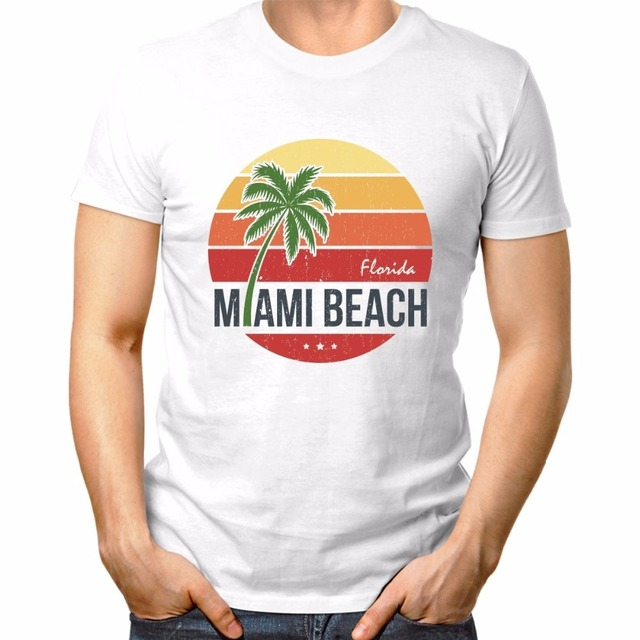Personalized T Shirt Custom Short Sleeve Sun Florida Miami Beach Vintage White Tee Shirts