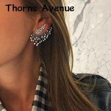 New 1PC Leave Shape Rhinestone Crystal Earrings Vintage Punk Fashion Wedding Statement Studs For Women Jewelry