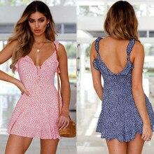 Fashion Summer Women Casual Sleeveless Dress Sexy V Neck Bandage Floral Mini Dresses Beach Sundress