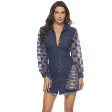 spring Long Sleeves Casual bodycon Dress Women Sexy Lace patchwork ripped Denim Button party Mini elegant Jean