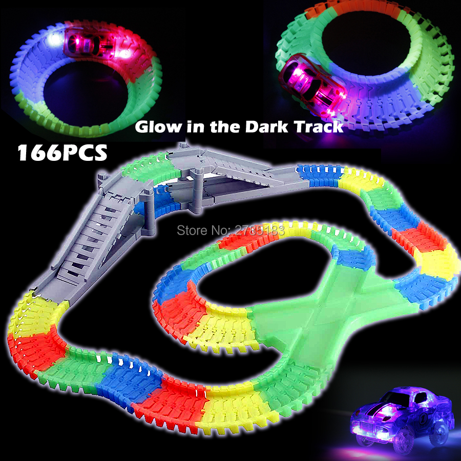 166PCS Slot Create A Road DIY Glow race track Flex Bend Tracks with 1pc Electric LED Light Up Car Educational Toys For Children