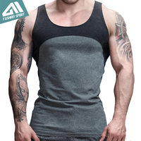 Aimpact Cotton Contrast Color Tank Tops Patchwork Mens Singlets Bodybuilding Fitted Sport Vintage Crossfit Workout Tees
