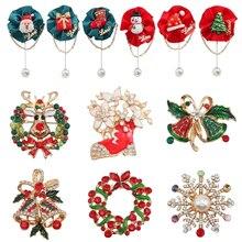 Fashion Christmas Brooch Color Snowflake Bell Christmas Tree Old Man Pin Rhinestone Girl Wreath Brooch Christmas Jewelry Gift цена
