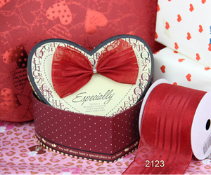 Image 2 - N2123 63MM X 25yards Red satin stripes organza ribbon gift wrapping christmas wired edge ribbon