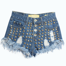 Fashion Women Summer Rivet Ripped Hole Denim Shorts Casual Fringe Tassel Hot Punk Rock Street Jeans