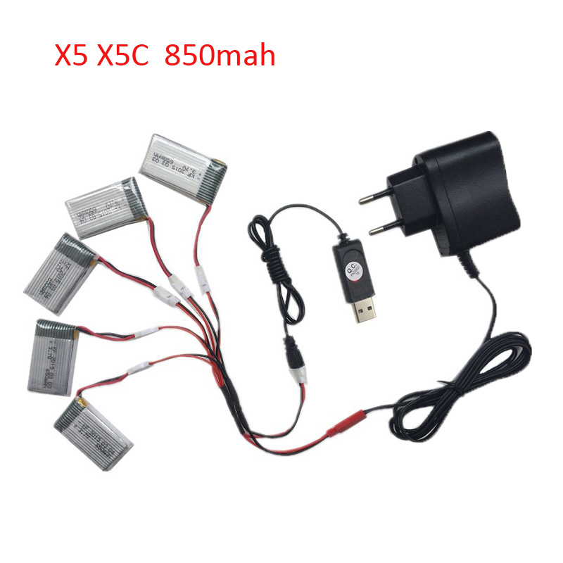 Original 850mah 3.7V Lipo Battery AC Charger for Syma X5 X5C X5HW X5SW X5HC RC Drone Quadcopter Helicopter Battery Spare Parts. syma x5hc x5hw rc quadcopter parts 5 pcs 3 7v 600mah lipo battery with 5 in1 usb charger adapter cable drone spare parts set