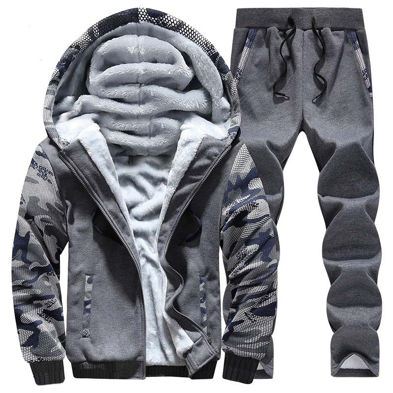 OLOEY Winter Sport Suit Warm Velvet Casual Men Sportwear Sets Thickening Track Suits Hoodie Sweat Suit Tracksuit Set Plus Size