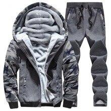 OLOEY Winter Sport Suit Warm Velvet Casual Men Sportwear Sets Thickening Track Suits Hoodie Sweat Tracksuit Set Plus Size