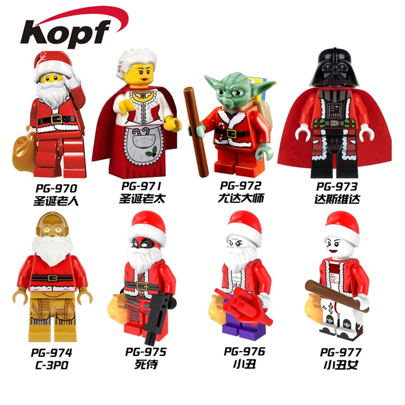 Super Heroes Christmas Granny Santa Claus Yoda Darth Vader Deadpool C-3PO Harley Quinn Building Blocks Toys for children PG8022 my granny