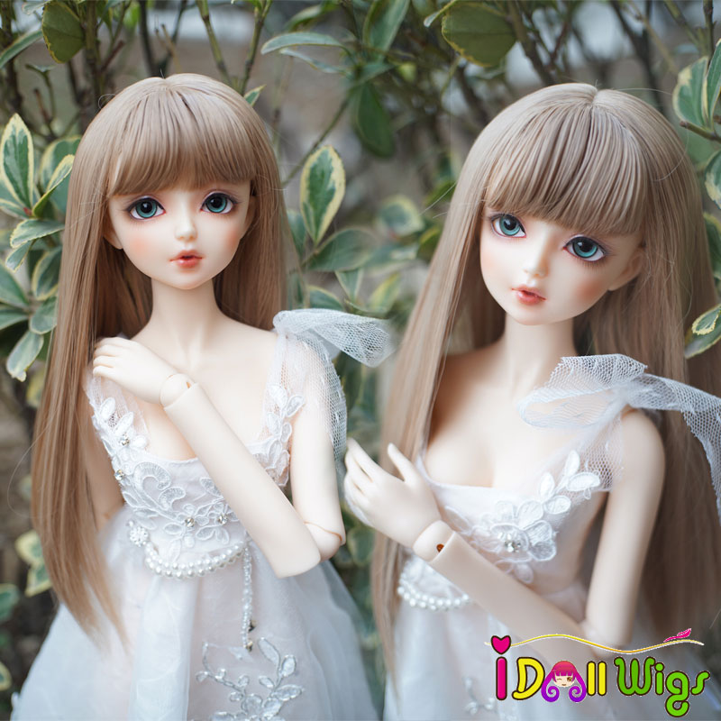 New Style High Temperature Wire Long Straight Khaki Styling Doll Hair Wigs With Bangs For 1/3 Bjd Doll On Sale