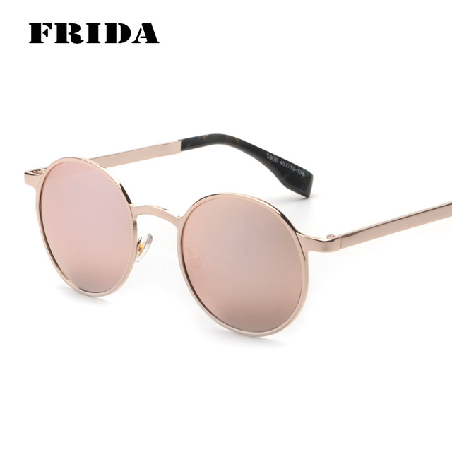 b4dbcba190 FRIDA 2016 Steampunk Goggles Women Sunglasses Gold Hipster Round Glasses  Pink Vintage Men Sun Glasses Fashion Shades Gafas sol