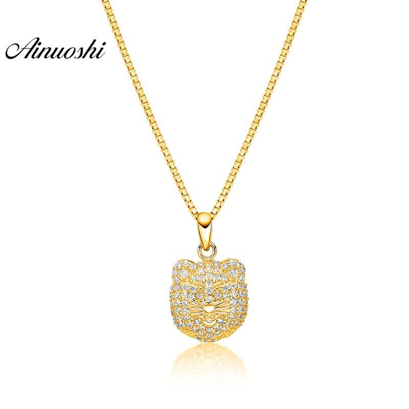 AINUOSHI 10K Solid Yellow Gold Pendant Shining Lion Head Pendant SONA  Diamond Women Men Children Jewelry 1.3g Separate Pendant e6b82fa2d9